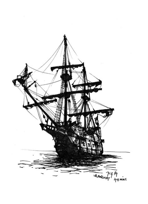 pirate ship a sketch for a how to movemay thedailysketch 40 min ink sketch of a galleon pirate ship any excuse to draw one