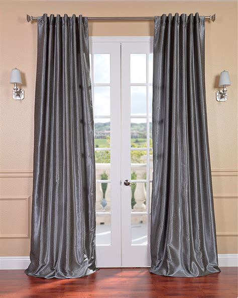 curtains overstock com storm grey vintage faux textured dupioni silk curtain