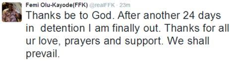 Fani Dress Kk ffk meets bail condition regains his freedom