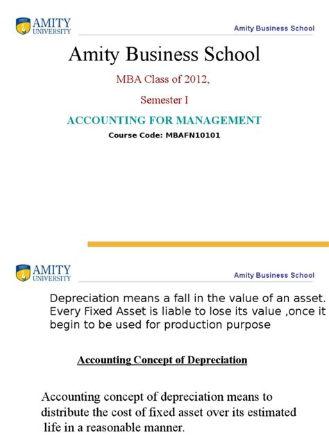 Amity Mba Value by 6 Depreciation Ppt Depreciation Amortization Business
