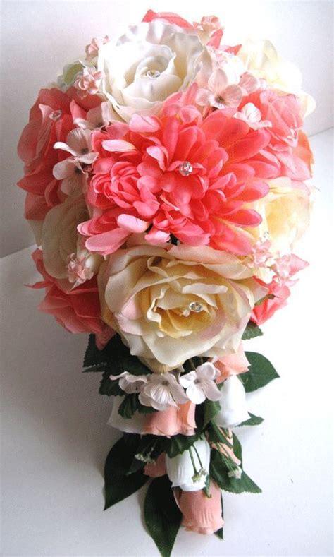 silk wedding flowers centerpieces wedding bouquet bridal silk flower coral cascade 17pc centerpieces ebay