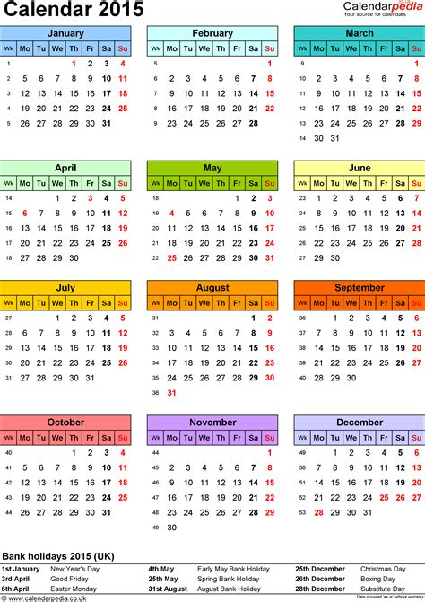 printable yearly a4 calendar 2015 calendar 2015 uk 16 free printable pdf templates