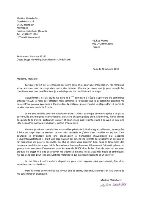 Exemple De Lettre De Motivation En Francais Pour Un Stage Lettre De Motivation Francais Le Dif En Questions