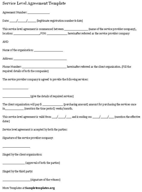 service agreement template uk service level agreement template service agreement