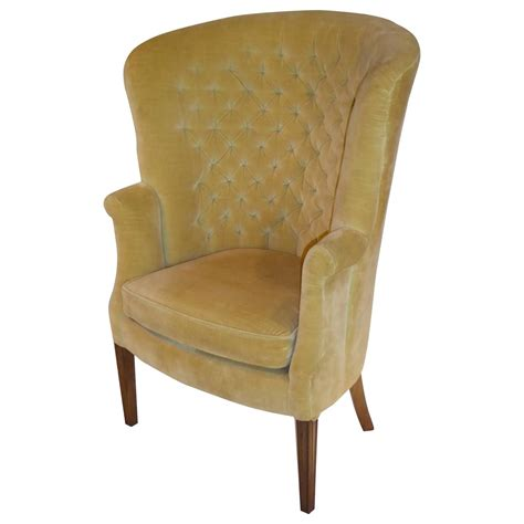 Tufted Wingback Chair by Architectural High Back Tufted Velvet Wingback Chair For