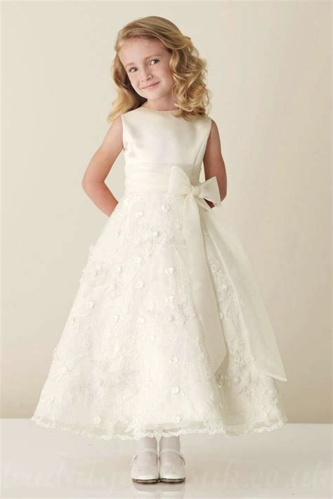 design flower girl dress online satin bateau a line bow sash inexpensive perfect flower