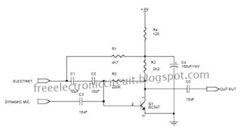c828 transistor hfe microphone pre lifier for both dynamic and condenser type mics free electronic diagram circuit