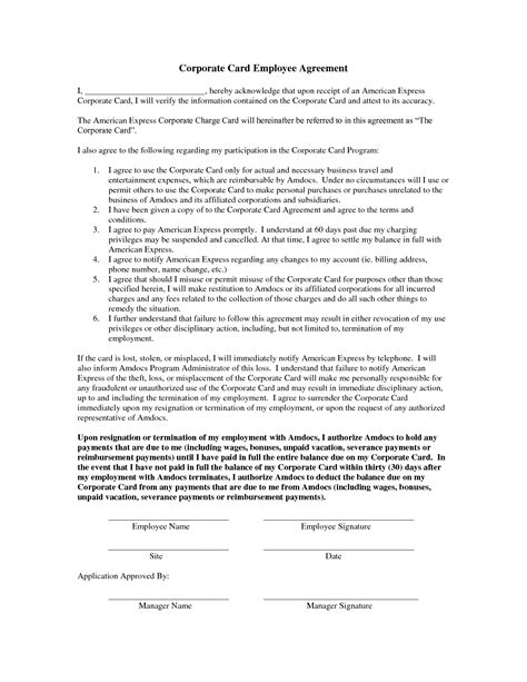 employee credit card agreement template best photos of employee equipment agreement form