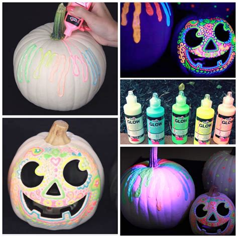 glow in the paint on pumpkins clever no carve painted pumpkin ideas for crafty