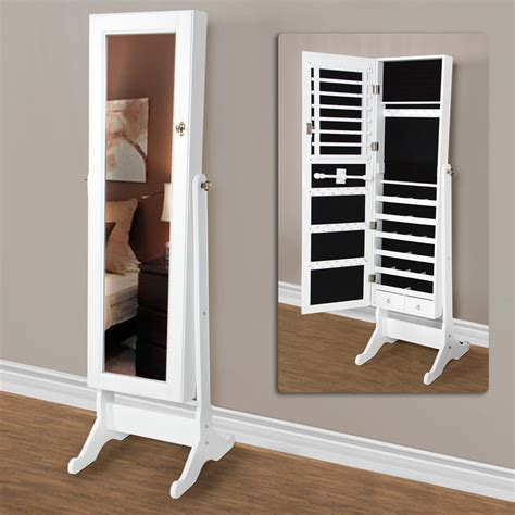 Length Mirrored Jewelry Armoire by Belham Living White Length Cheval Mirror Jewelry