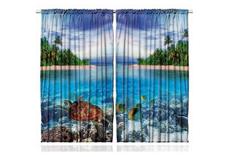Tropical Kitchen Curtains Tropical Island Curtain Panel Set