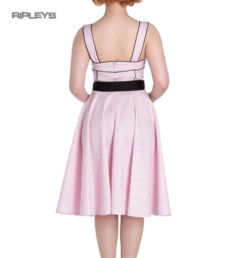 Dress Anak Polka Pink hell bunny rockabilly pinup martie 50s dress polka dot pink all sizes ebay