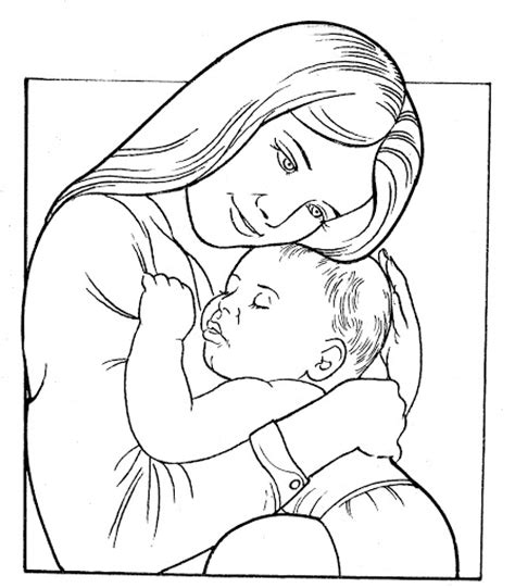 free coloring pages of mom and baby