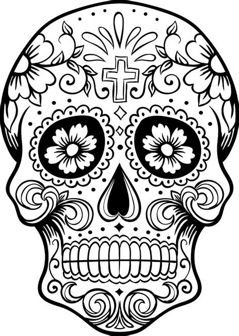 Mexican Skull Coloring Pages Sugar Skull Coloring Page Coloring Home