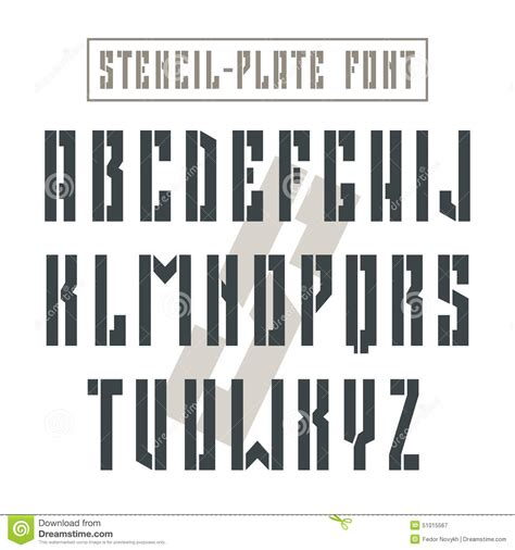 world war 1 typography bold stencil plate sans serif font in style stock