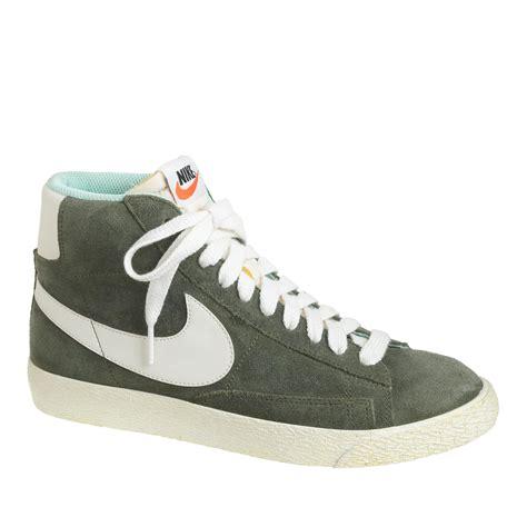 lyst j crew s nike suede blazer mid vintage sneakers in green