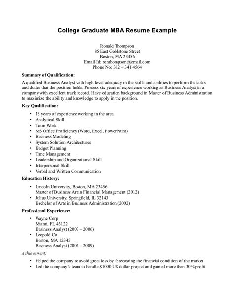 sle college graduate resume 8 28 images sle resumes