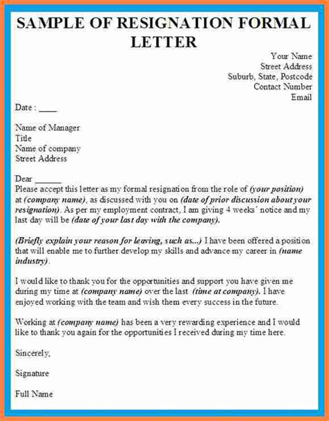 Resignation Letter Sle Jobstreet 10 Formal Resignation Letter Sle Without Notice Notice Letter