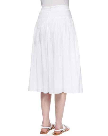 pleated cotton voile skirt sea salt
