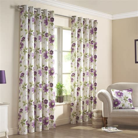 curtains uk renoir purple floral printed lined eyelet curtains pair