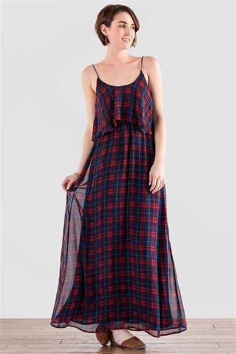 Tartan Maxi Dress Cleo covington plaid maxi dress s