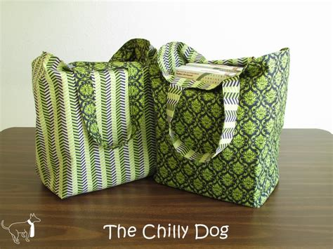 sewing pattern grocery bag sewing tutorial reversible shopping bags the chilly dog