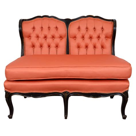 orange settee antique victorian french settee in orange tufted