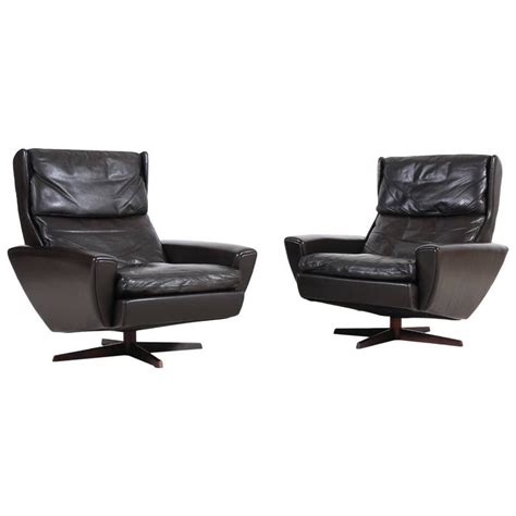 Brown Leather Armchairs by Pair Of Scandinavian Brown Leather Armchairs 1960s At 1stdibs