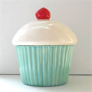 Ceramic Kitchen Canister ceramic cupcake cookie jar aqua mint decor biscuit jar pet