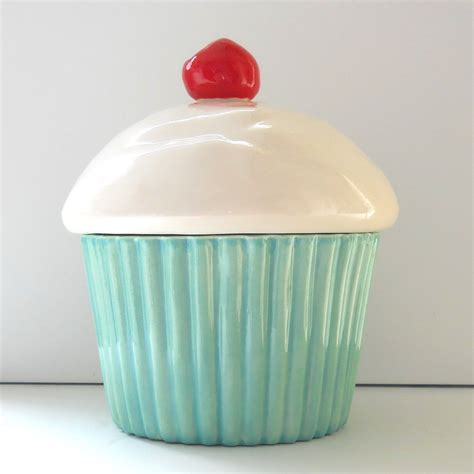 Cupcake Canister Etsy | ceramic cupcake cookie jar aqua mint biscuit jar by