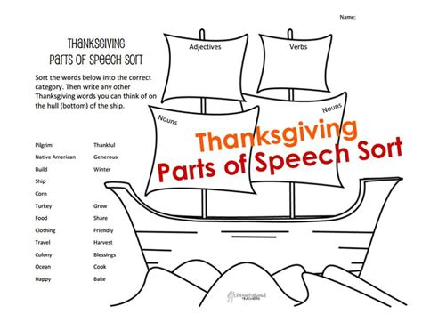 printable turkey parts squarehead teachers free printable parts of speech sort
