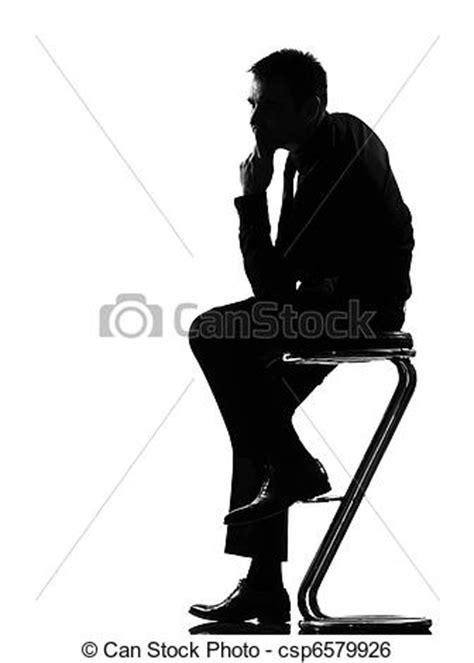 Banco de imagens de silueta, homem, pensando, pensativo