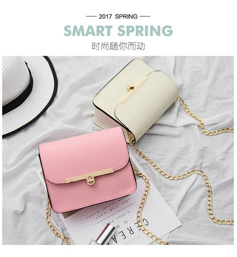Baymax Square White Sling Bag korean chain small square leather bag lock mini