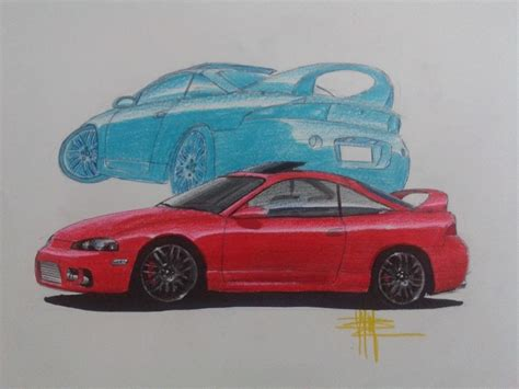 mitsubishi eclipse drawing sketch drawing mitsubishi eclipse