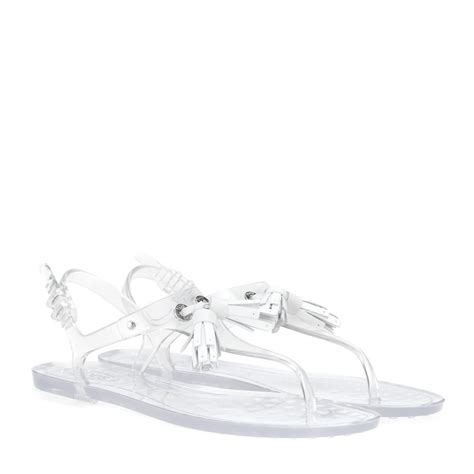 tod s embellished plastic sandals in white lyst