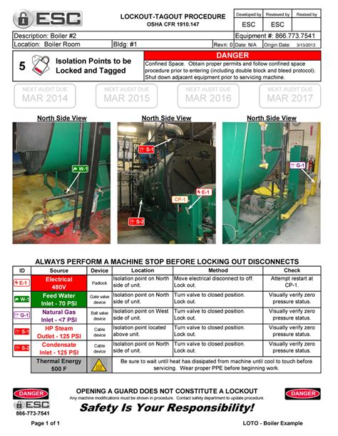 loto program template lockout tagout procedure exles