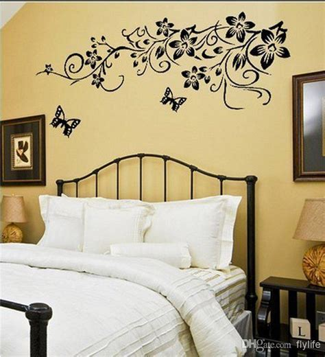 Bedroom Wall Painting black butterflies wall stickers flowers art home decor