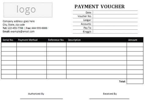 Payment Receipt Voucher Template Excel by Sle Payment Voucher For Ms Word Office Templates