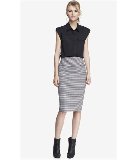 high waisted midi pencil skirt dress