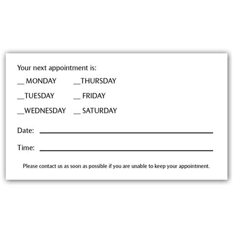 appointment card template free appointment reminder card template images
