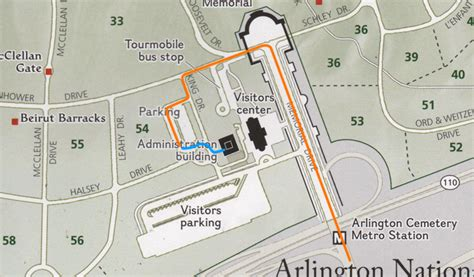arlington national cemetery map herbert hammond access by car