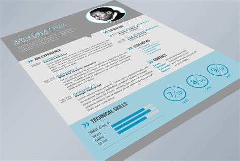 free modern resume templates psd free flat and modern resume cv psd template freebies thetotobox