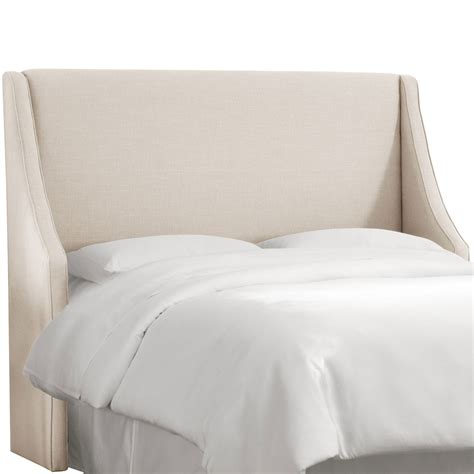 wingback queen headboard king linen talc swoop arm wingback headboard skyline
