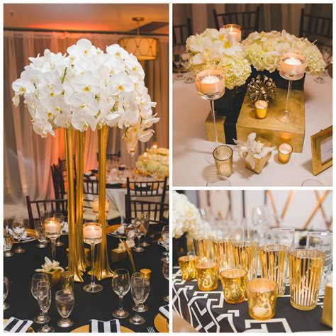 Real Wedding Art Deco White Black And Gold Wedding At Black And Gold Wedding Centerpieces