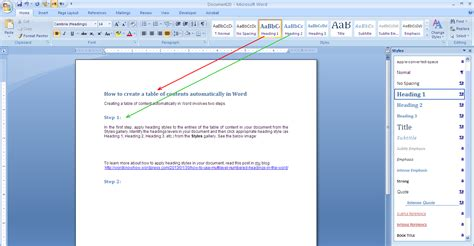 Table Of Contents In Word 2013 by How To Create A Table Of Content Automatically In Word
