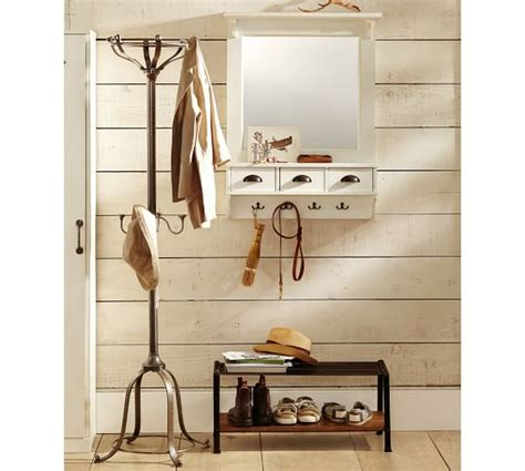 Entryway Wall Organizer With Mirror Wall Mount Entryway Organizer Mirror Almond White