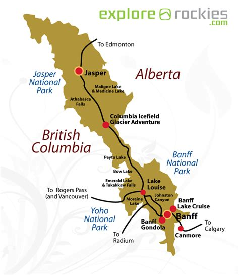 canadian mountains map canadian rockies map travel canada