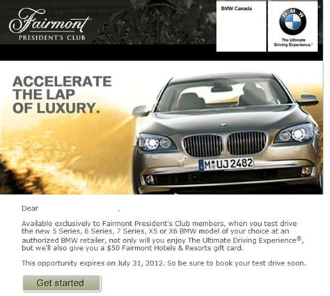 Fairmont Hotel Gift Card - test drive a bmw and get a 50 fairmont hotels resorts gift card the skeptical