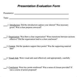 presenter evaluation form template sle presentation evaluation 6 documents in pdf