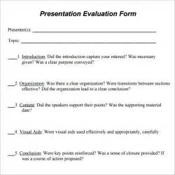 Evaluation Template For Presentation by Presentation Evaluation 7 Free For Pdf